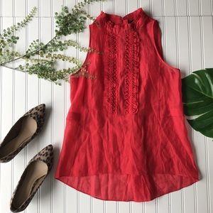 Bcbgmaxazria red sleeveless blouse ruffle sheer